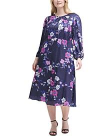 Plus Size Printed Embossed Dress