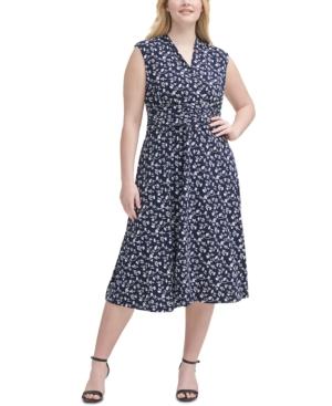 Plus Size Printed Gathered-Waist Dress