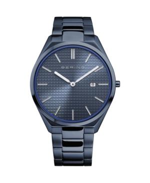 Men's Ultra Slim Blue Stainless Steel Bracelet Watch 40mm