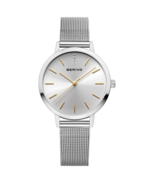 Women's Classic Silver-Tone Stainless Steel Mesh Strap Watch 34mm