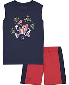 Toddler Boys Firecracker Sleeveless Tee and Shorts Set