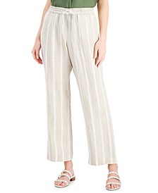 Linen Striped Straight-Leg Pants, Created for Macy's