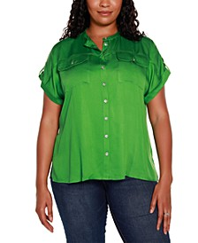 Black Label Plus Size Short Sleeve Button Up Top with Front Pockets