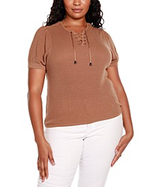 Black Label Plus Size Short Puff Sleeve Sweater with Lace Up Detail at Front