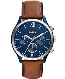 Men's Fenmore Multifunction Blue Leather Watch 44mm