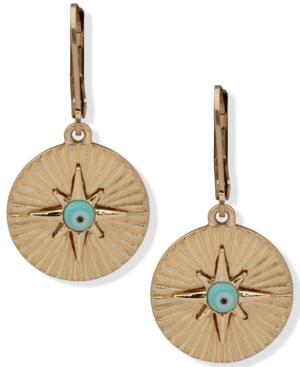 Gold-Tone Evil Eye Disc Drop Earrings