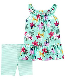 Baby Girls Floral Tank and Bike Short, 2 Piece Set