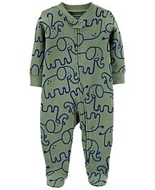Baby Boys Elephant 2-Way Zip Cotton Sleep Play