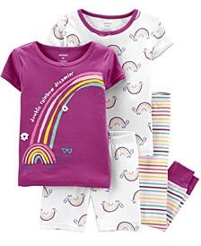 Toddler Girls Rainbow Snug Fit Pajama, 4 Piece Set