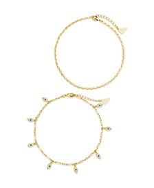 Women's Delicate Evil Eye Chain Gold Plated Anklet Set