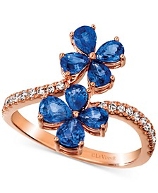 Blueberry Sapphire (1-1/2 ct. t.w.) & Nude Diamond (1/5 ct. t.w.) Flower Statement Ring in 14k Rose Gold