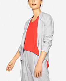 Gathered-Sleeve Open-Front Blazer