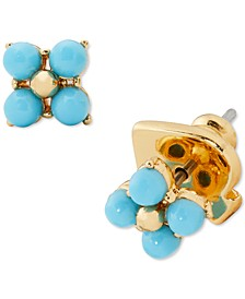 Gold-Tone Turquoise-Look Bead Forget-Me-Not Stud Earrings