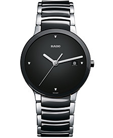 Rado Watch, Men's Swiss Centrix Diamond Accent Stainless Steel and Black Ceramic Bracelet 38mm R30934712