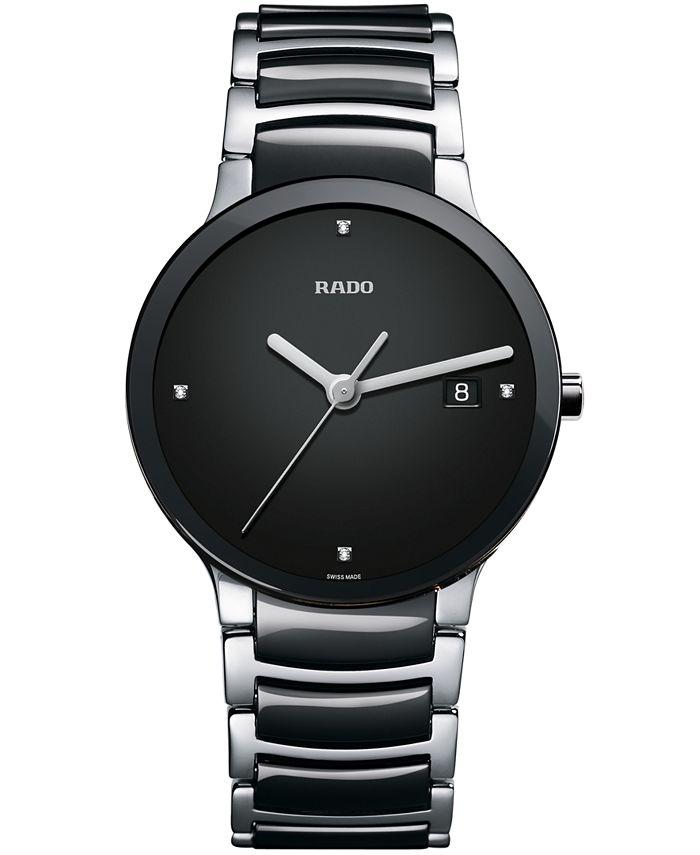 Rado - Watch, Men's Swiss Centrix Diamond Accent Stainless Steel and Black Ceramic Bracelet 38mm R30934712