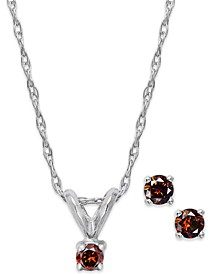10k White Gold Red Diamond (1/10 ct. t.w.) Necklace and Earring Set