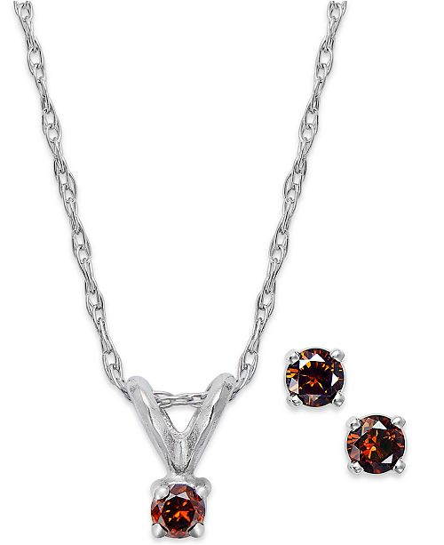 Macy's 10k White Gold Red Diamond (1/10 ct. t.w.) Necklace and Earring Set