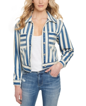 Cotton Striped Denim Cropped Jacket
