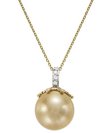 14k Gold Golden South Sea Pearl (14mm) and Diamond Accent Crown Pendant Necklace