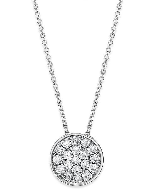 EFFY Collection Trio by EFFY® Diamond Disc Pendant Necklace (1/4 ct. t.w.) in 14k White, Rose or Yellow Gold