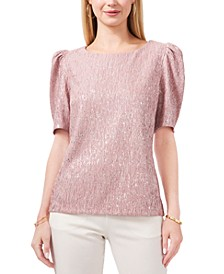 Foil-Crinkle Knit Puff-Sleeve Top