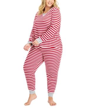 Women's Plus Striped Waffle-Knit Pajamas Set