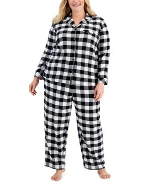 Plus Size Buffalo Check Cotton Flannel Pajama Set