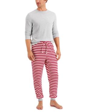 Men's Solid Top & Striped Pants Thermal Pajama Set