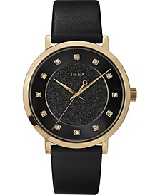 Women's Crystal Black Leather Strap Watch 38mm