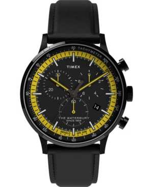 TIMEX MEN'S WATERBURY BLACK LEATHER STRAP WATCH 40MM