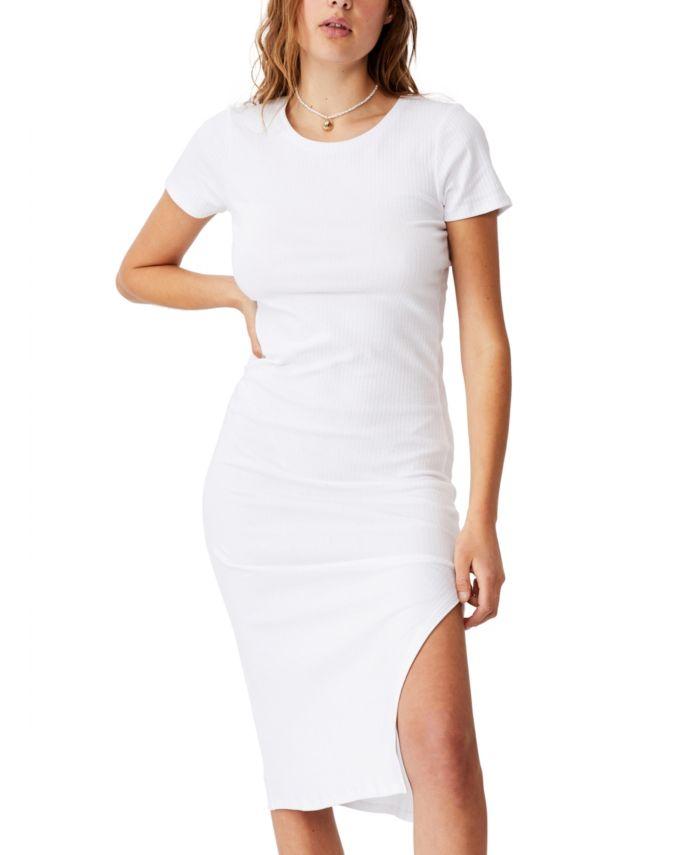 COTTON ON Women's Essential Split Short Sleeve Midi Dress & Reviews - Women - Macy's