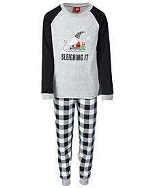 Matching Toddler, Little & Big Kids 2-Pc. Sleighing It Check-Print Family Pajama Set