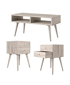 Rhodes 3-Piece Mid Century Modern End Tables and TV Stand Set