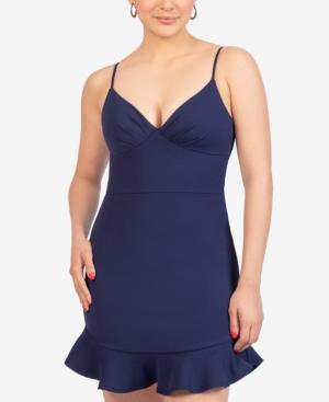 Juniors' V-Neck Flounce-Hem Dress