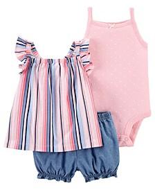 Baby Girls Striped Little Short, 3 Piece Set