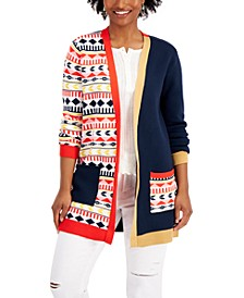 Mixed-Print Open Cardigan, Created for Macy's