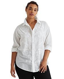 Plus-Size Shadow Stripe Cotton Dobby Shirt