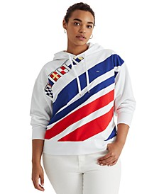 Plus-Size Flags-and-Stripes French Terry Hoodie