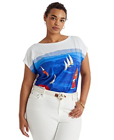Plus-Size Beach Boatneck T-Shirt