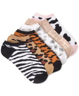Animal-Print 6pk Ankle Socks