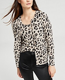 Cashmere Cheetah-Print Cardigan, Created for Macy's