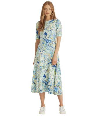 로렌 랄프로렌 Lauren Ralph Lauren Fit & Flare Midi Dress,Blue Multi