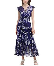 Floral-Print Smocked-Waist Maxi Dress