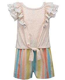 Little Girls Knit Top and Striped Linen Look Shorts Set, 2 Piece