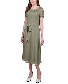 Petite Short Sleeve Belted Swiss Dot Dress