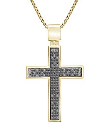 """Diamond Cross 22"""" Pendant Necklace (1/2 ct. t.w.) in 14k Gold-Plated Sterling Silver or Sterling Silver (Also in Black Diamonds)"""