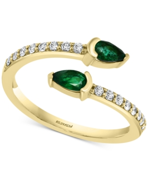 Effy Emerald (3/8 ct. t.w.) & Diamond (1/4 ct. t.w.) Bypass Ring in 14k Gold