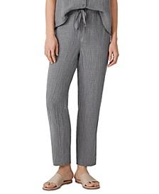 Linen Checked Drawstring Ankle Pants, Regular & Petite