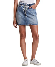 Frayed Cotton Denim Skirt