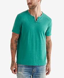 Men's Venice Burnout Notch Neck Knit Short Sleeves T-shirt